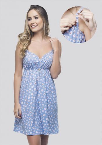 Camisola Amamentação 100% Algodão com Click Azul Claro com Flores