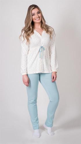 Pijama amamentação de botão e laço algodão