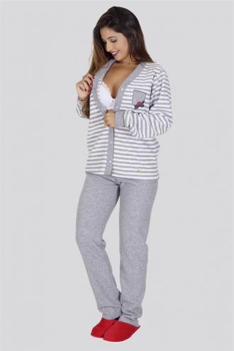 Pijama amamentação longo de plush