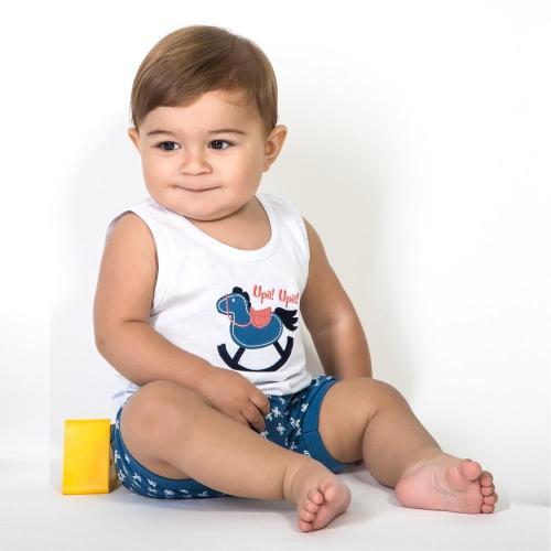 Pijama Infantil 100% Algodão Masculino bermuda com blusa sem manga