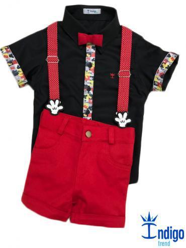 d71e65e72 Conjunto Camisa Social Infantil Mickey Menino 4 peças Índigo Trend ...