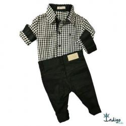 378740a2505 Conjunto Camisa ou Body Veneza Fazendinha Xadrez 2 Peças Índigo Kids