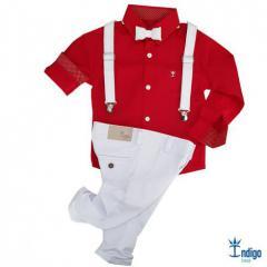 Conjunto Camisa Social Infantil Menino Honduras Natal Índigo Trend ... 3d810fef86aa6