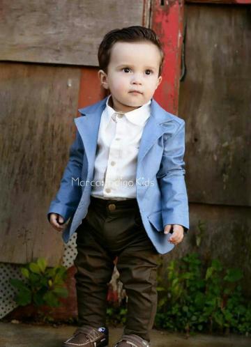 8440d39799 Conjunto Infantil Blazer Camisa Grécia 3 Peças Índigo kids   Bebê ...