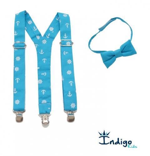 c6c6bea36 Kit Suspensório Azul turquesa estampado + Gravata borboleta Azul turquesa -  2Pçs