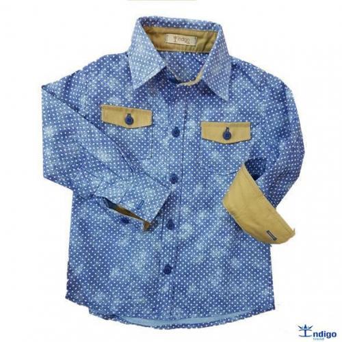 a516effa94137 Camisa Social Infantil Menino Romênia Bolsos Índigo Trend : Camisa ...