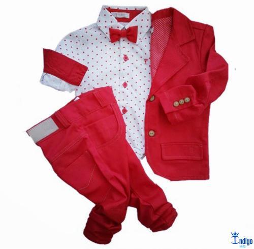 Conjunto Infantil Casual Blazer Vermelho Camisa Barcelona 4 Peças Menino  Índigo Trend 99a5578eff6f3