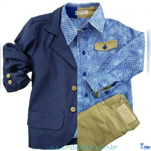 50e7e5fb4b Conjunto Infantil Casual Blazer Azul Marinho Camisa Romênia 3 Peças Menino  Índigo Trend