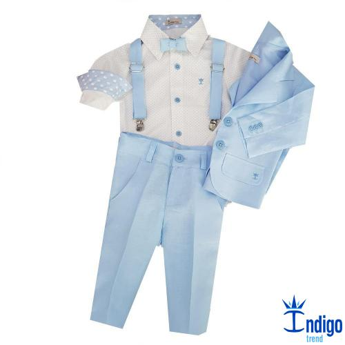 24d68821d8 Conjunto Infantil Social Linho Azul Bebê Alemanha Blazer 5 Peças Menino  Índigo Trend