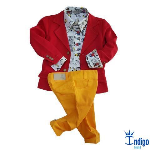 2519831bd7 Conjunto Infantil Snoopy e Amigos Blazer 3 Peças Menino Índigo Trend ...