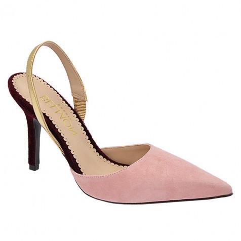 dc4e3df55b Scarpin Bico Fino Salto Fino 9cm (Camurça Rosa  Spechio Ouro  Veludo Bordô)