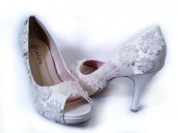 6b7dfe66e Sapato Peep Toe Customizado salto 10cm Cetim Off White (NÚMERO 36 À PRONTA  ENTREGA)