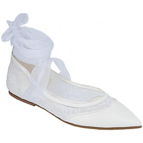 8092b49902 Sapato Especial de Noiva Casamento Salto 1cm (Cor do modelo  Branco Renda  Branca ...