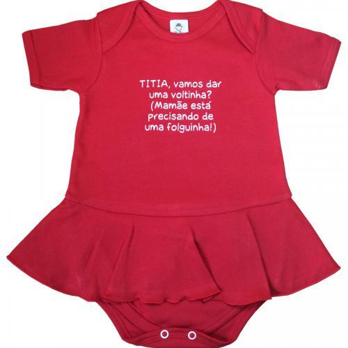 19d4611f5 Body Vestidinho C/Frase Divertida Para Bebê Piu Blu. Tamanho XG.