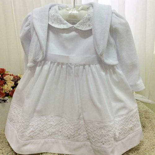 e0cb222a08 Vestido De Batizado Bebê C/ Bolero Tamanho P ao G